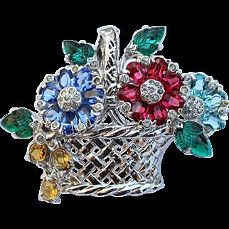 Vintage Art Deco Carved Fruit Salad Basket Brooch