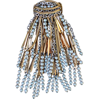 Fabulous Vintage French Faux Pearl & Chains Brooch 40s