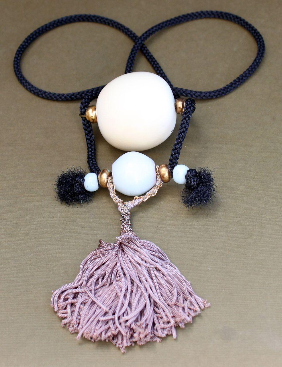 Vintage Chinese Peking Glass & Huge Ivory Bead Necklace