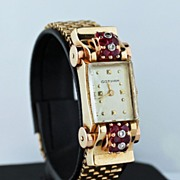 Superb Vintage Gotham 14K Gold Ruby Diamond Watch