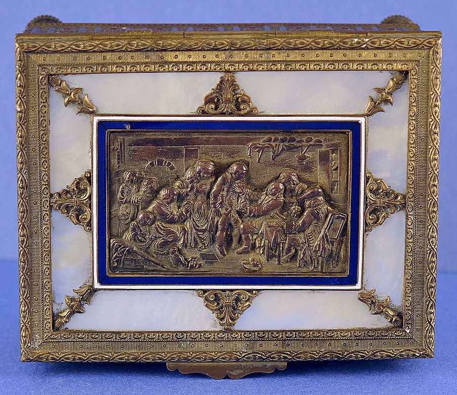 Exquisite, Napoleon III, French, Palais Royal, Dore Bronze, Enamel & Mother of Pearl, Combination Music & Trinket / Dresser Box