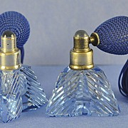 Pair, Circa 1930's, Cut & Faceted, Quiver Shaped, Czechoslovakian/Czech, Bejeweled, Blue Crystal, Atomizer Perfume/Scent Bottles by the T J. Holmes Company, Inc.