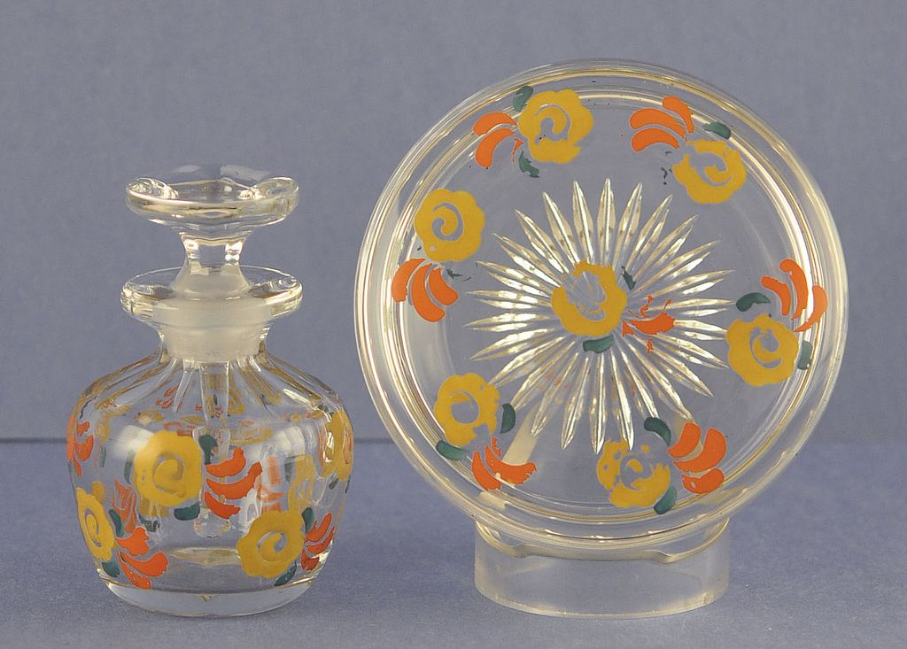 Cute, Circa 1930's, Hand Painted, Dresser / Vanity Set with Original and Matching Trinket Jar & Perfume Bottle