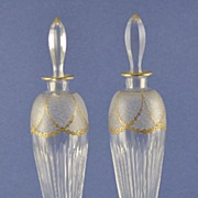 Elegant, PAIR, (2) 19th Century, Tall, Clear Crystal Perfume / Cologne Bottles with Etched Flowers & Tons of Gilt Accents