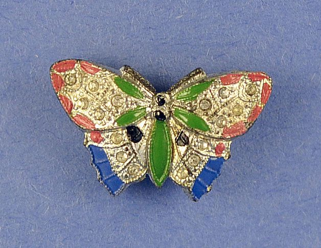 Unusual, Vintage, Jeweled & Enameled, Butterfly Shaped, Perfume Pin / Brooch