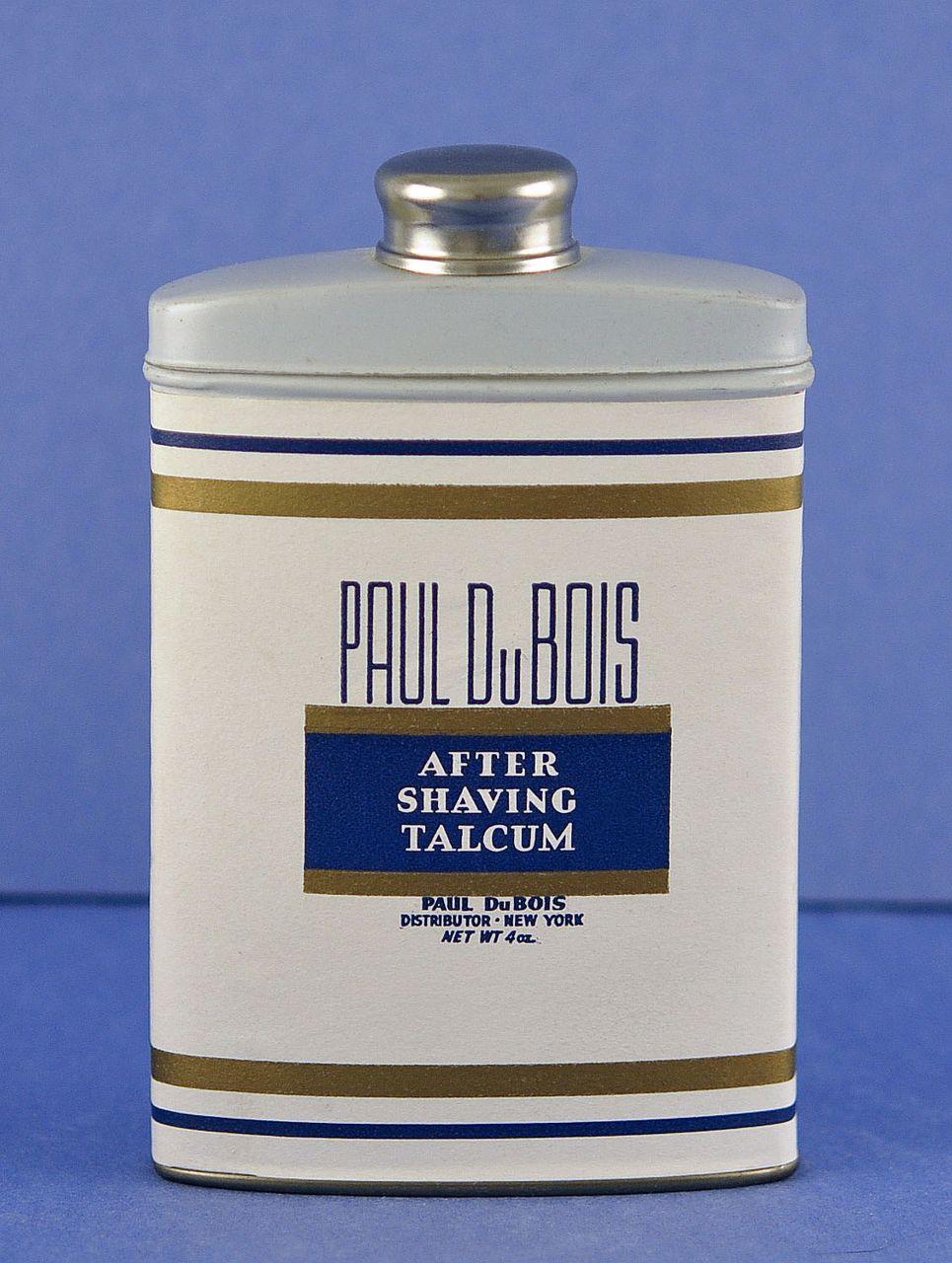 Circa 1920's, American, After Shaving Talcum Powder by Paul Du Bois in Original Tin