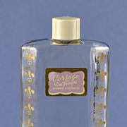 "Rare! Circa 1930's, American, ""Corsage Du Temps"" Clear Glass, Commercial Perfume Bottle by Andre Chenier with Fleur-De-Lis"