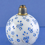 Lovely! Vintage, Round Shaped, Crystal Atomizer Perfume Bottle with Hand Painted Daisies & Leaves