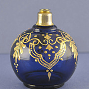 Showy! Vintage, Cobalt Blue Colored, Round Shaped, Crystal Atomizer Perfume Bottle with Tons of Gilt Accents!