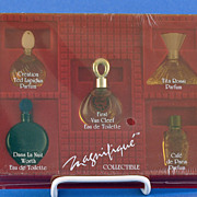 "Vintage, ""Magnifique Collectible"" Presentation / Gift Set Includes FIVE, (5) Miniature, Commercial Perfume Bottles with Original, Fitted Box – Dans La Nuit, Van Cleef, Tita Rossi, Ted Lapidus & Café de Paris"
