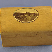 19th Century, Mauchline Ware, Trunk Shaped, Trinket Box with Transfer of The Sands, Ramsgate