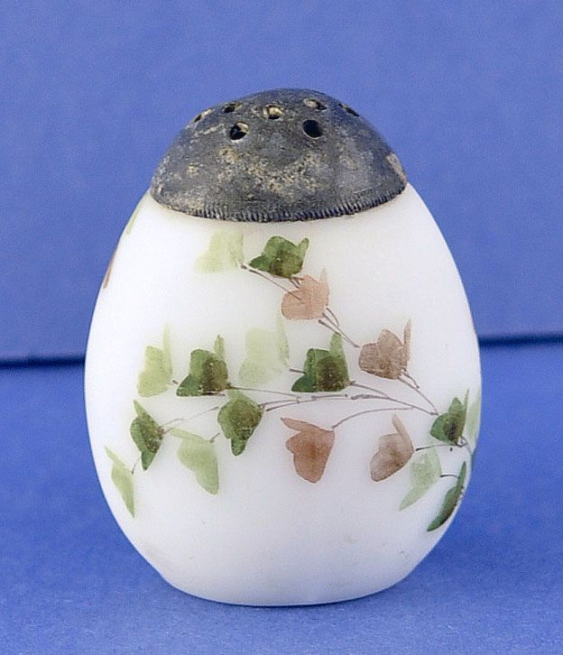 Circa 1890's, American, Egg Shaped, Victorian Glass, Salt Shaker by Mount Washington