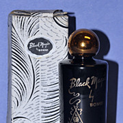 "Striking! Circa 1942, American, ""Black Magic"" Bath Essence Gift Set by Bombi in Original, Fitted Box"