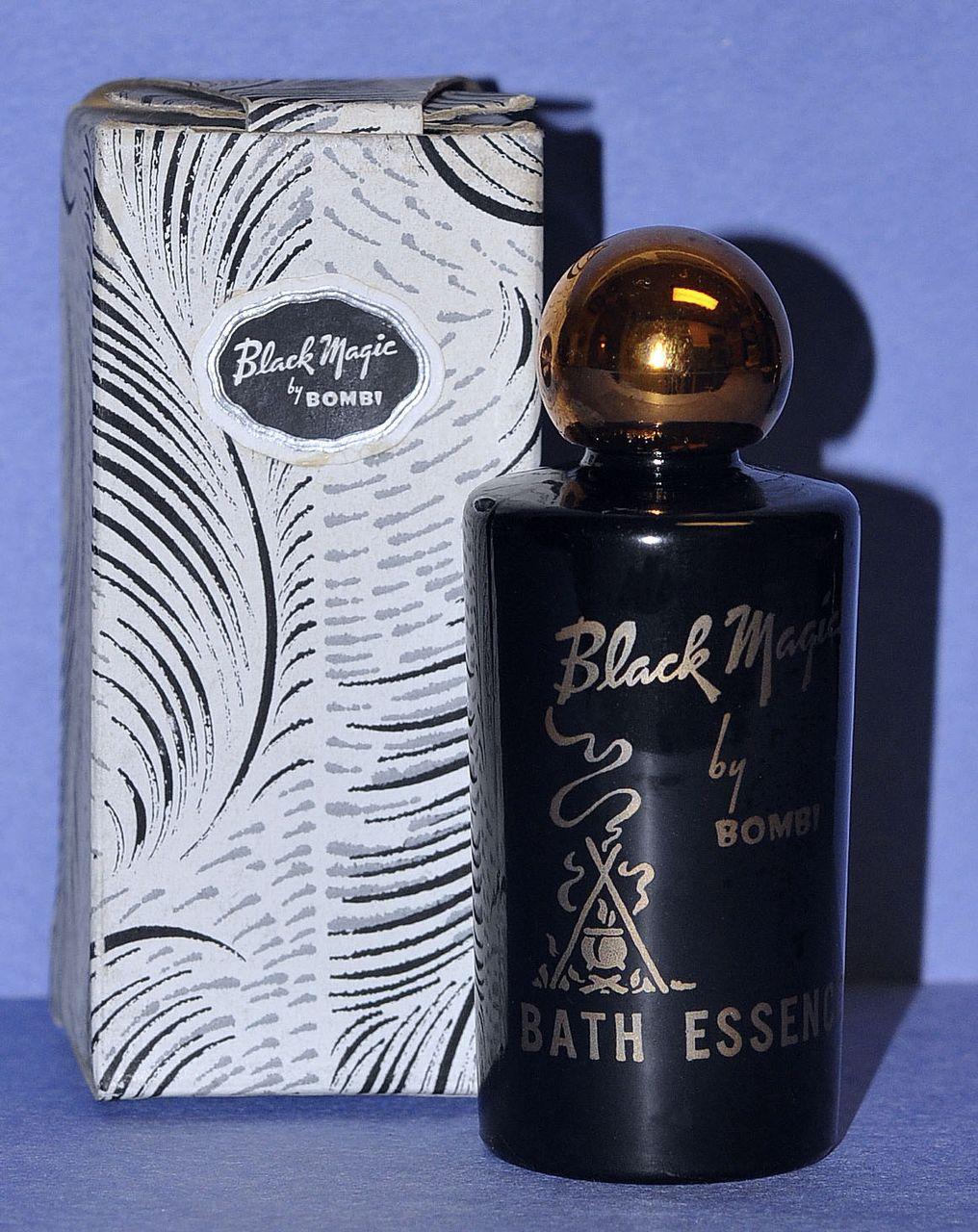 "Striking! Circa 1942, American, ""Black Magic"" Bath Essence Gift Set by Bombi in Original, Fitted Box"