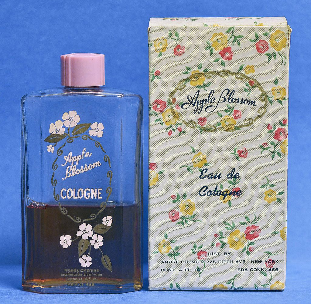 """Circa 1930's, American, """"Apple Blossom"""" Cologne by André Chenier, Clear Glass, Commercial Perfume Bottle with Original, Floral Decorated Box"""