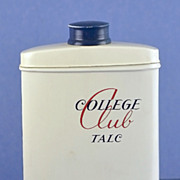 "Vintage, American, ""College Club"" Talc Powder by Don Leslie in Original Tin"