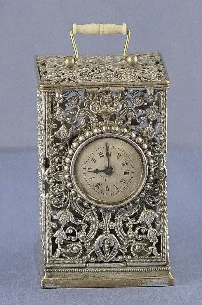 RARE! 19th Century, Silver, Filigree, Clock Shaped Sewing Etui with Matching Perfume / Scent Bottle