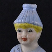 """Vintage, (Circa 1900) German, Bisque, """"Little Squirt"""", Naughty / Naughtie - Adorable, Plump Little Boy Answering the Call of Nature"""