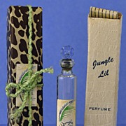 "Unique! Circa 1930's, ""Jungle Lil"" by Bryn Mawr Distributors, Mini, Commercial Perfume Bottle with Flower Shaped Stopper in Original, Animal Print Wrapping & Box"