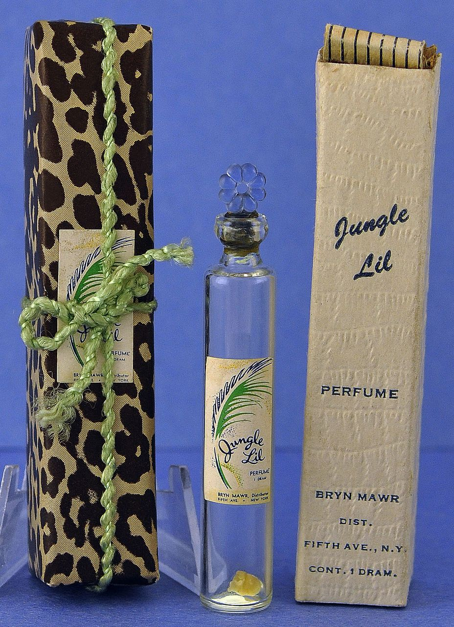 """Unique! Circa 1930's, """"Jungle Lil"""" by Bryn Mawr Distributors, Mini, Commercial Perfume Bottle with Flower Shaped Stopper in Original, Animal Print Wrapping & Box"""