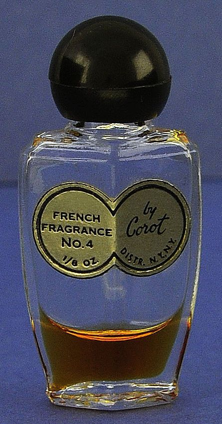 """Circa 1944, American, """"French Fragrance No. 4"""", By Corot, Clear Glass, Deco Style, Mini, Commercial Perfume Bottle"""