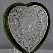 One of a kind! Circa 1880, Black Starr & Frost, Sterling Silver, Heart Shaped, Bodkin Case / Sewing Kit / Trinket Box with Original, MATCHING, Simons Brothers, Sterling Silver Tools