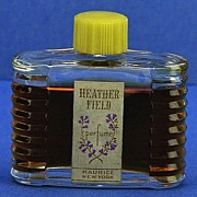 """Circa 1930's, American, """"Heather Field"""" by Maurice, Art Deco Style, Clear Glass, Mini, Commercial Perfume Bottle."""