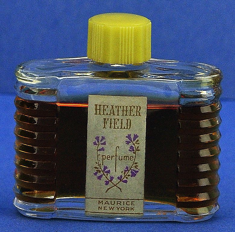 "Circa 1930's, American, ""Heather Field"" by Maurice, Art Deco Style, Clear Glass, Mini, Commercial Perfume Bottle."