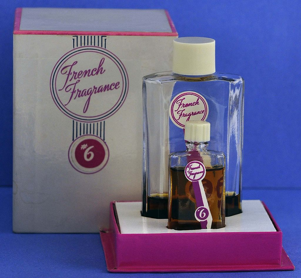 "TWO, Circa 1944, American, ""French Fragrance #6"" by Corot, Commercial Perfume Bottles in Original, Hot Pink & White Fitted Box"