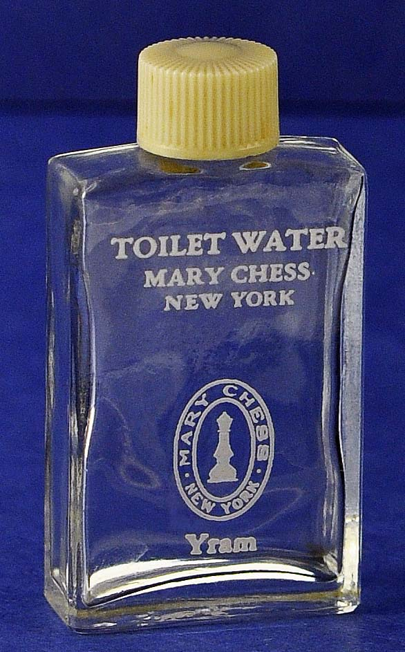 """CUTE! Circa 1934, """"Yram"""" by Mary Chess, Clear Glass, Mini, Commercial Perfume Bottle"""