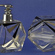 GLITZY & LAVISH! Vintage, Art Deco Style, Dresser / Vanity Set: Atomizer Perfume Bottle & Matching Powder Jar!