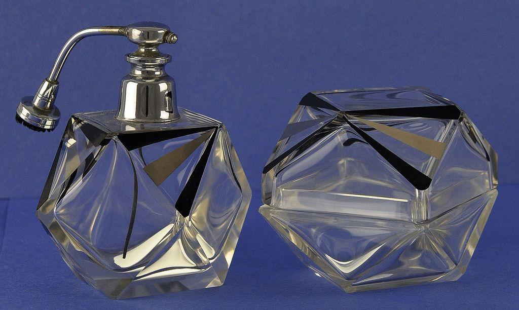 GLITZY & LAVISH! Vintage, Art Deco Style, Dresser / Vanity Set: Atomizer Perfume Bottle & Matching Powder Jar!