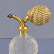 Vintage, French, Clear & Frosted Glass, Atomizer Perfume Bottle with Garlands of Holly & Berries