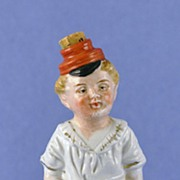 """Circa 1900, German, Bisque, """"Little Squirt"""", Naughty / Naughtie, Novelty, Perfume Bottle - Plump Little Boy Sitting on Potty Answering the Call of Nature"""