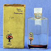 "Vintage, ""Cara Nome"", by Langlois, Clear & Frosted Glass, Mini, Commercial, Perfume Bottle with Original Box"