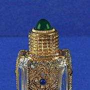 SHOWY! Circa 1930's, Mini, Jeweled, Czechoslovakian, Czech, Purse Perfume / Scent Bottle