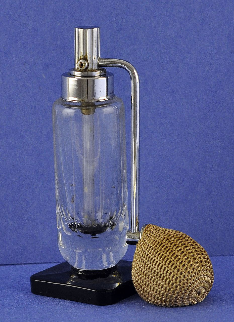 Sleek! Circa 1935, Czech / Czechoslovakian, Made for De Vilbiss, Mist, Atomizer Perfume / Scent Bottle with Rock Crystal Cutting and Jet Black Base