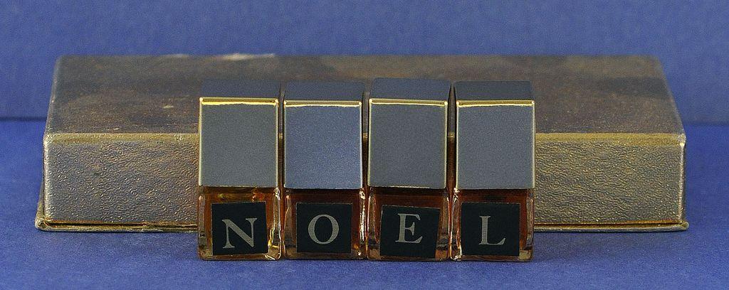 "One of a Kind! Unused! Circa 1950's, "" NOEL"" Set of FOUR! (4) Novelty, Christmas Themed, Mini, Commercial Perfume Bottles! Each Mini Bottle Spells Out NOEL!"