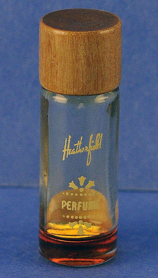 "Unusual, Circa 1930's, American, ""Heatherfield"" by Maurice, Clear Glass, Mini, Commercial Perfume Bottle with Original Wooden Cap"