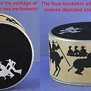OUTSTANDING & RARE! Unopened! Circa 1929, American, Face Powder by Terri in Original, Cowboy / Old West Inspired Box