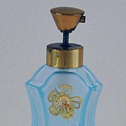 Superb! Vintage, Czech / Czechoslovakian, Made for Irice, Aqua Colored Glass, Lyre Shaped, Mist Atomizer Perfume / Scent Bottle