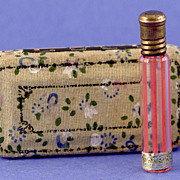 "Delicate! Circa 1920, French, ""Jardins Celestes"" Made in Germany for Renaud, Cylindrical Shaped, Red & Clear Glass, Commercial Perfume Bottle Complete with Original, Floral Decorated, Fitted, Silk Lined Box"