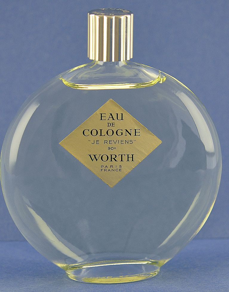 """A Classic! Vintage, French, UNOPENED, Large Size, """"Je Reviens 90"""" Made by Lalique for Worth, Clear Glass Commercial Perfume Bottle"""