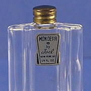 """Circa 1953, American, """"Mon Desir"""" by Ivel, Clear Glass, Mini, Commercial Perfume Bottle"""