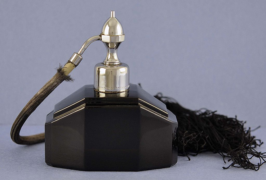 Glittering! Vintage, French, Marcel Franck, Opaque, Black Crystal Atomizer Perfume Bottle