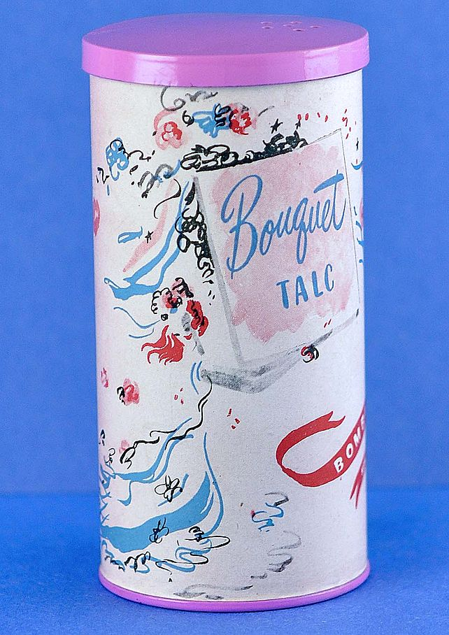 A Prize! Unopened, Circa 1945, American, Bouquet Talc Powder by Bombi, in Original, Highly Decorated, Hot Pink Colored, Cardboard Container / Box
