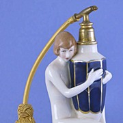 Circa 1930's, Austrian / Czechoslovakian, Royal Dux, Porcelain, Figural, Naked Lady, Atomizer Perfume / Scent Bottle