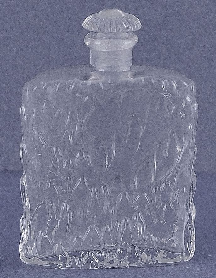 Vintage, German, Clear Glass, Square Shaped, Commercial Perfume Bottle with Molded Leaves