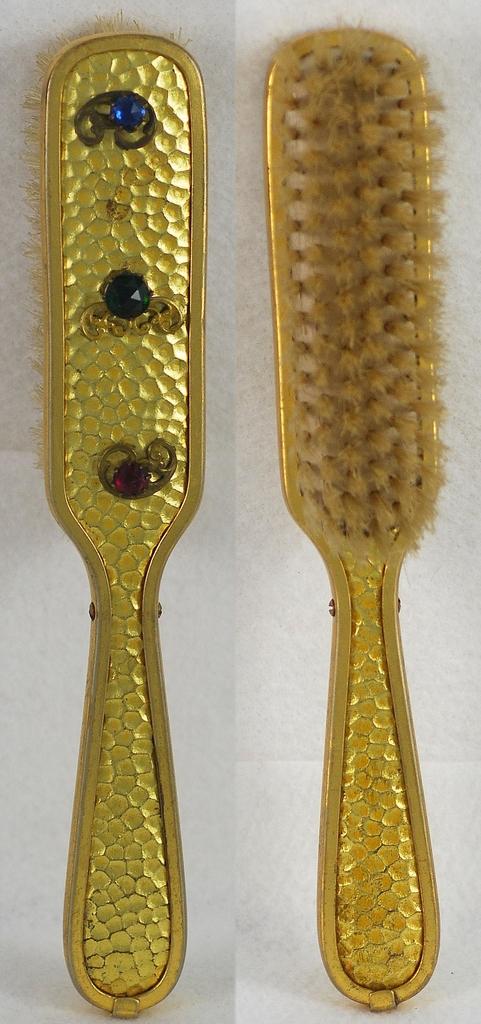 Sparkly! Vintage, Hammered, Metal, Multi-Colored, Jeweled Hair Brush / Vanity Dresser Set