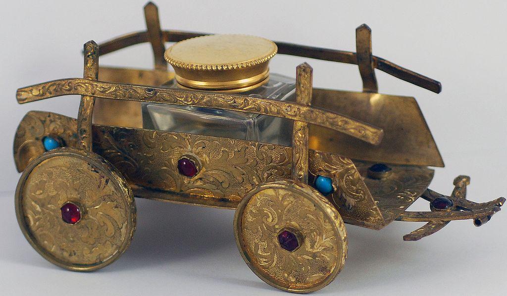 Fabulous Figural, Vintage, Bronze & Jeweled Cart Inkwell Inkstand